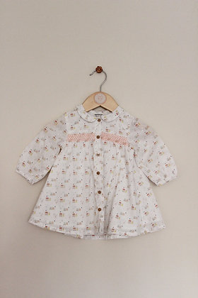 Vertbaudet lined house pattern tunic dress (age 3-6 months)