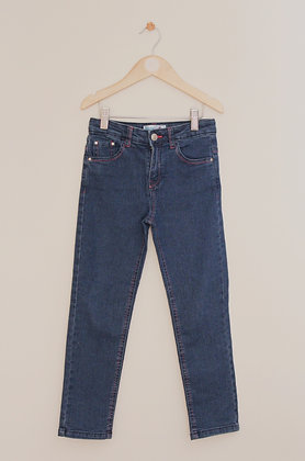 M&Co mid blue slim/skinny jeans with pink stitching (age 6-7)