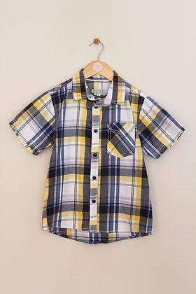M&S Indigo yellow and blue 100% cotton shirt (age 8-9)