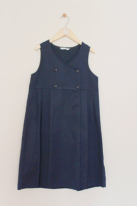 M&S navy school pinafore with pleated skirt (age 10)