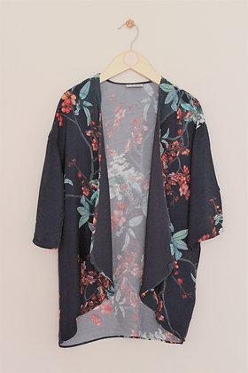 Next dark forest green floral print kimono style cardigan (age 7)