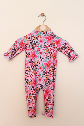 George pink floral sun/swim suit and hat (age 3-6 months)