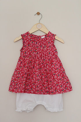 Mini Club pink floral sleeveless dress with integrated romper (age 9-12 months)