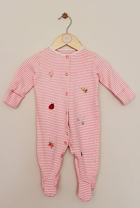 Next fluro stripe sleepsuit with embroidered decoration (age 3-6 months)