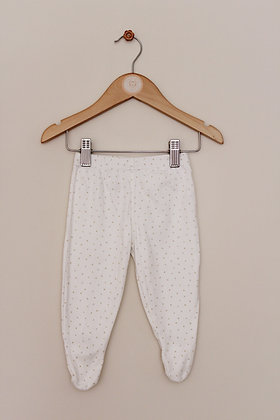 M&S cream dotty leggings with feet (age 3-6 months)