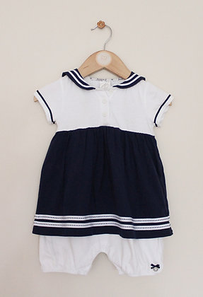 Jasper Conran sailor dress with integrated romper (age 9-12 months)