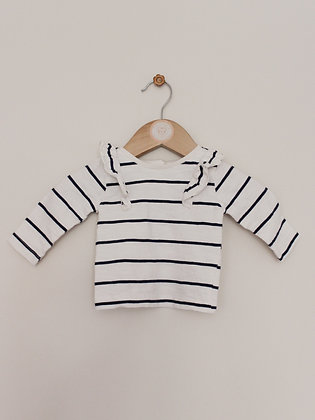 Mini Club navy striped long sleeved top (age 0-3 months)