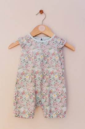 F&F turquoise floral romper (age 0-3 months)