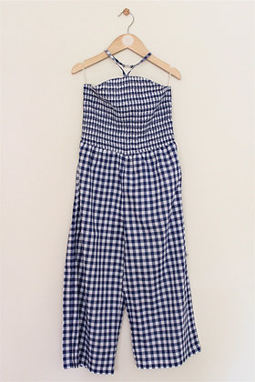 M&S blue checked jumpsuit with halter neck (age 8-9)