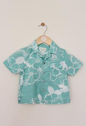 Monsoon aqua short sleeved tropical print shirt (age 6-12 months)