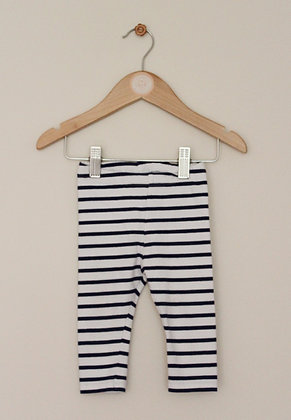 H&M white and navy striped leggings (age 4-6 months)