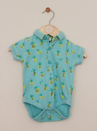 Next turquoise polo style body suit (age 0-3 months)