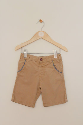 F&F tan cotton shorts with adjustable waist (age 2-3)