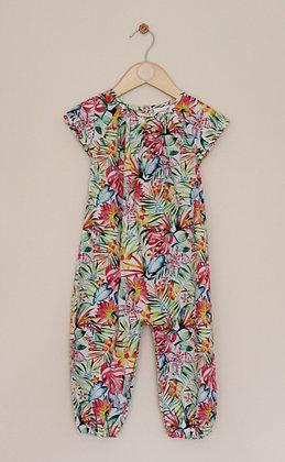 Next colourful tropical print cotton romper suit (age 12-18 months)