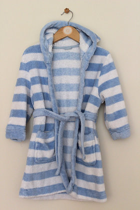Mothercare fluffy blue and white dressing gown (age 2-3)