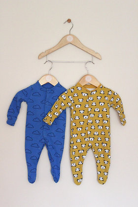 2 x bright patterned sleepsuits (age 0-3 months)