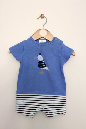 Next 'To the sea' blue top & shorts romper suit (age 0-3 months)
