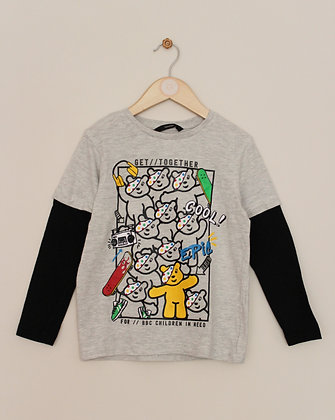 George Children in Need Pudsey mock layer top (age 6-7)