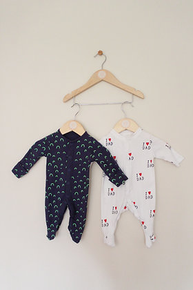 2 x sleepsuits (age 0-1 month)