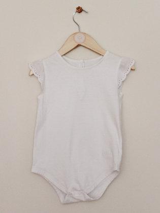 Matalan broiderie cap sleeve white bodysuit (age 18-24 months)
