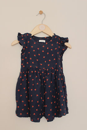 Next apple print navy playsuit (age 9-12 months)