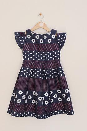 Jasper Conran cold shoulder navy patterned dress (age 8)