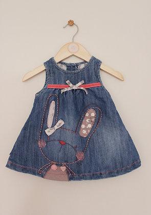 Next denim bunny applique sleeveless dress (age 3-6 months)