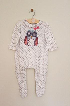 Monsoon owl applique sleepsuit (age 6-9 months)