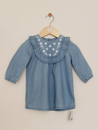 BNWT George chambray embroidered dress (age 6-9 months)
