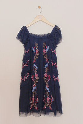 Next navy embroidered occasion dress (age 9)