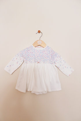 Mothercare pretty floral jersey top with integrated bodysuit (age 3-6 months)