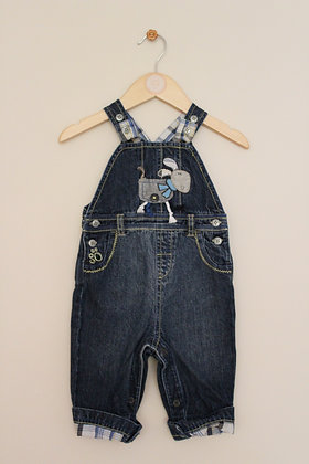 Next denim dungarees with puppy dog applique (age 3-6 months)