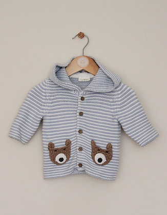 Next blue and white strip knitted hooded cardigan (age 0-3 months)