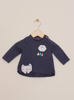 F&F blue top with applique rain cloud and cat design (age 0-3 months)