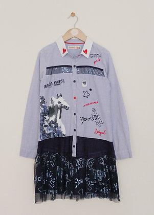 Desigual blue and white graphic design shirt dress with net trim (age 9-10)
