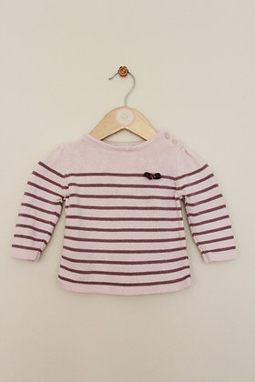 2 striped Vertbaudet cotton knitted jumpers (age 6 months)