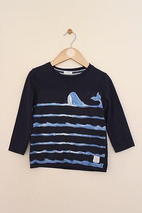 Junior J (Debenhams) navy long sleeved whale t-shirt (age 2-3)