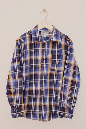 M&S navy, blue and mustard checked shirt (age 9-10)