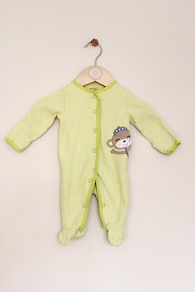 Carters green striped sleepsuit with applique motif (Newborn)