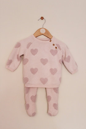 George cotton blend heart design knitted outfit (age 6-9 months)