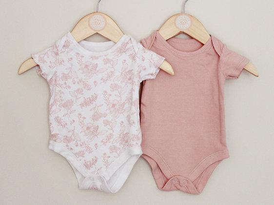 2 x TU short sleeved pink bodysuits (age 0-1 month)