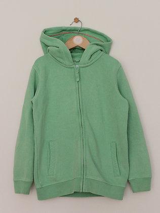 FatFace fleece lined green zip through hoodie (age 8-9)