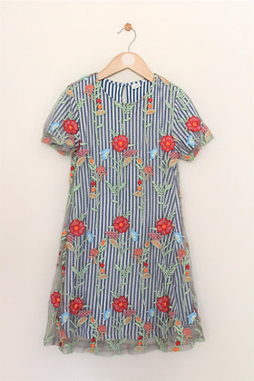 Next layered striped / floral layered dress (age 9)