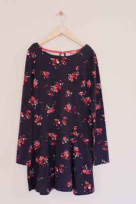 Joules navy floral jersey dress with drop waist (age 11-12)