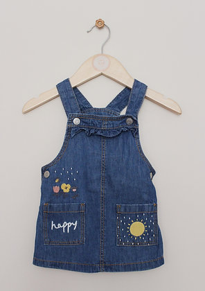 F&F embroidered denim pinafore (age 3-6 months)