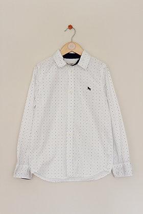 H&M white cotton shirt with blue dot pattern (age 8-9)