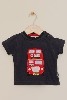 Jojo Maman Bebe navy London bus t-shirt (age 3-6 months)