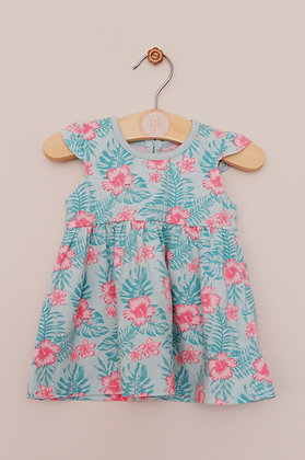 Primark turquoise tropical print dress (age 0-3 months)