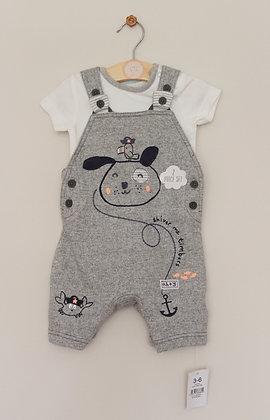 BNWT pirate puppy dungarees set (age 3-6 months)