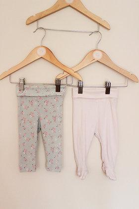 2 x H&M roll waist organic cotton leggings (age 2-4 months)